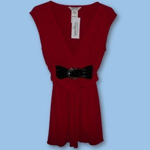 Women Belted Top Red Sleeveless V-Neck Size M